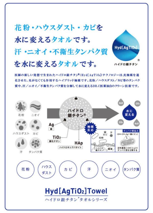 花粉やハウスダスト、カビ等のタンパク質や汗、ニオイ、不衛生タンパク質を分解して水に変えるというDR.C医薬独自のクリーン技術